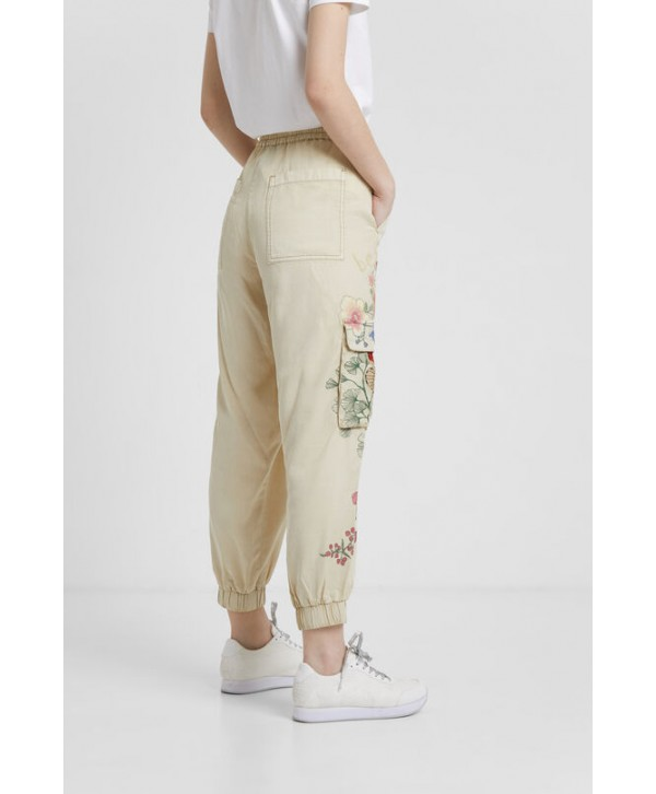 2020 new Desigual  Women Long floral cargo trousers